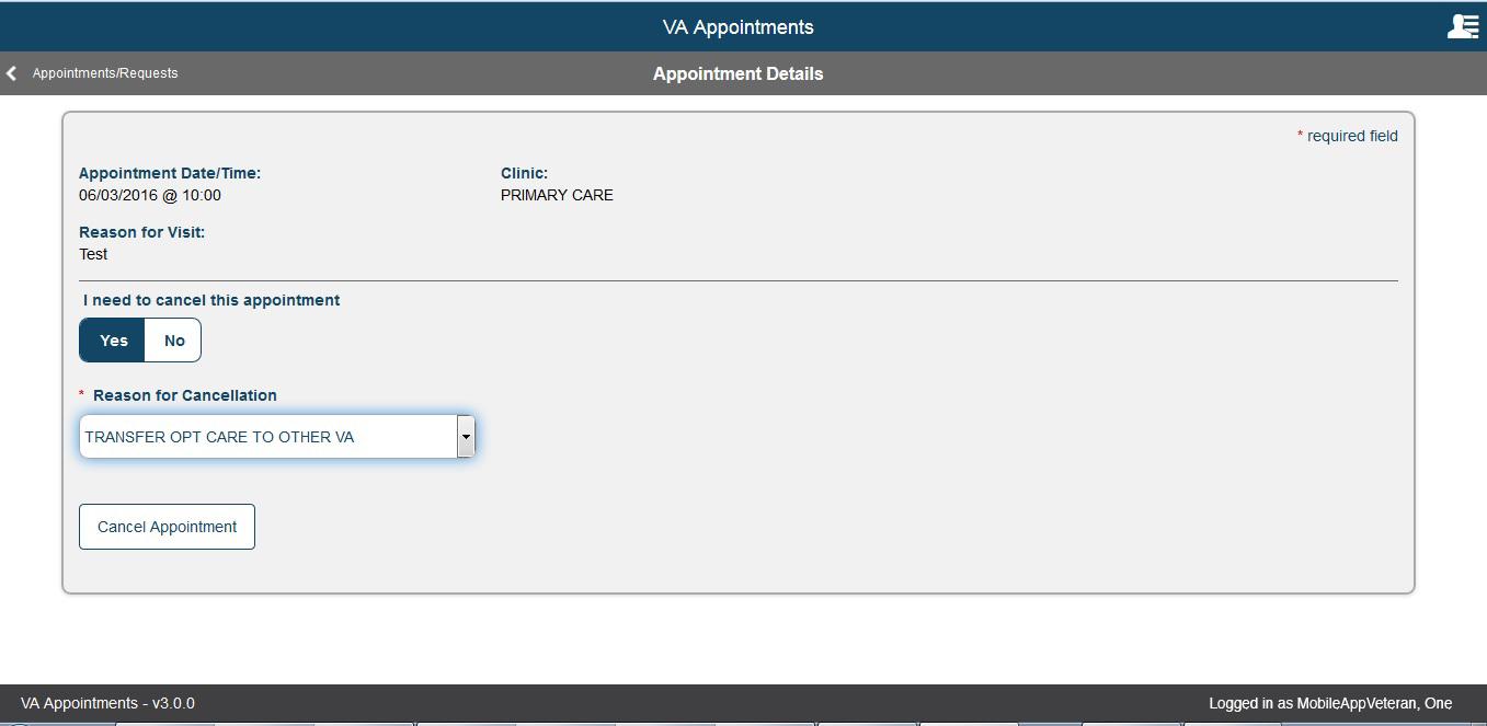 veteran appointment request va mobile