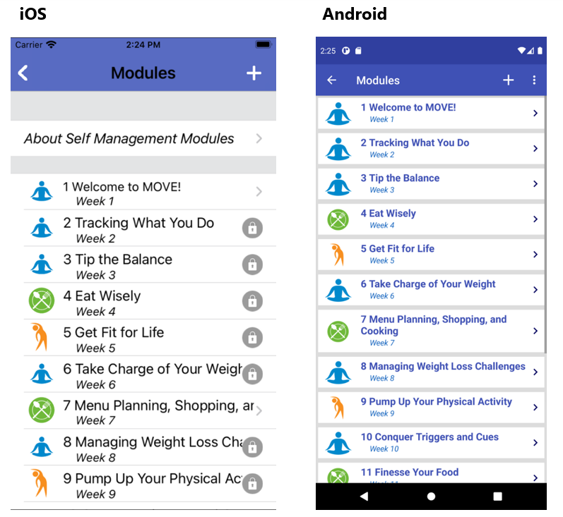 MOVE! Coach app screenshots from iOS and Android devices.