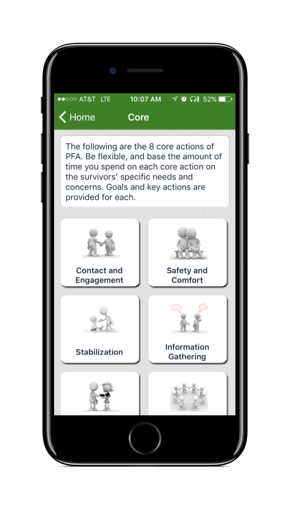 PFA Mobile Core Actions Screen