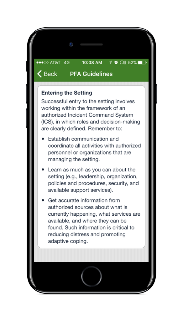 PFA Mobile PFA Guidelines Screen