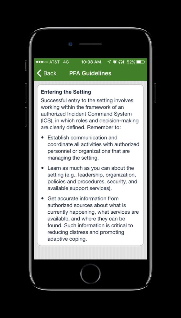 PFA Mobile PFA Guidelines Screen