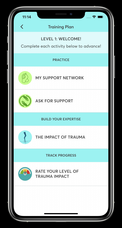 STAIR Coach Training Plan Screen