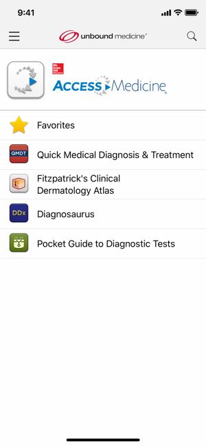 AccessMedicine Home Screen