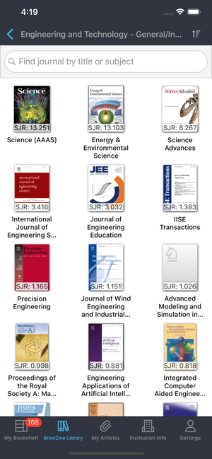 Find journals of interest by titles or by subject screenshot