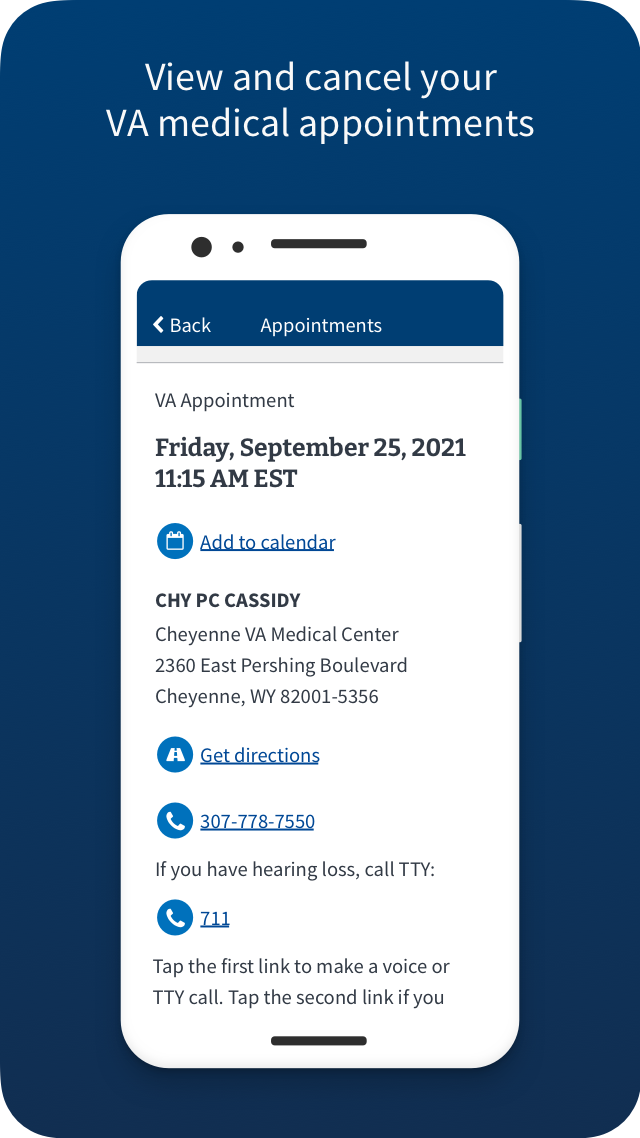 VA: Health and Benefits view and cancel your VA medical appointments Screen