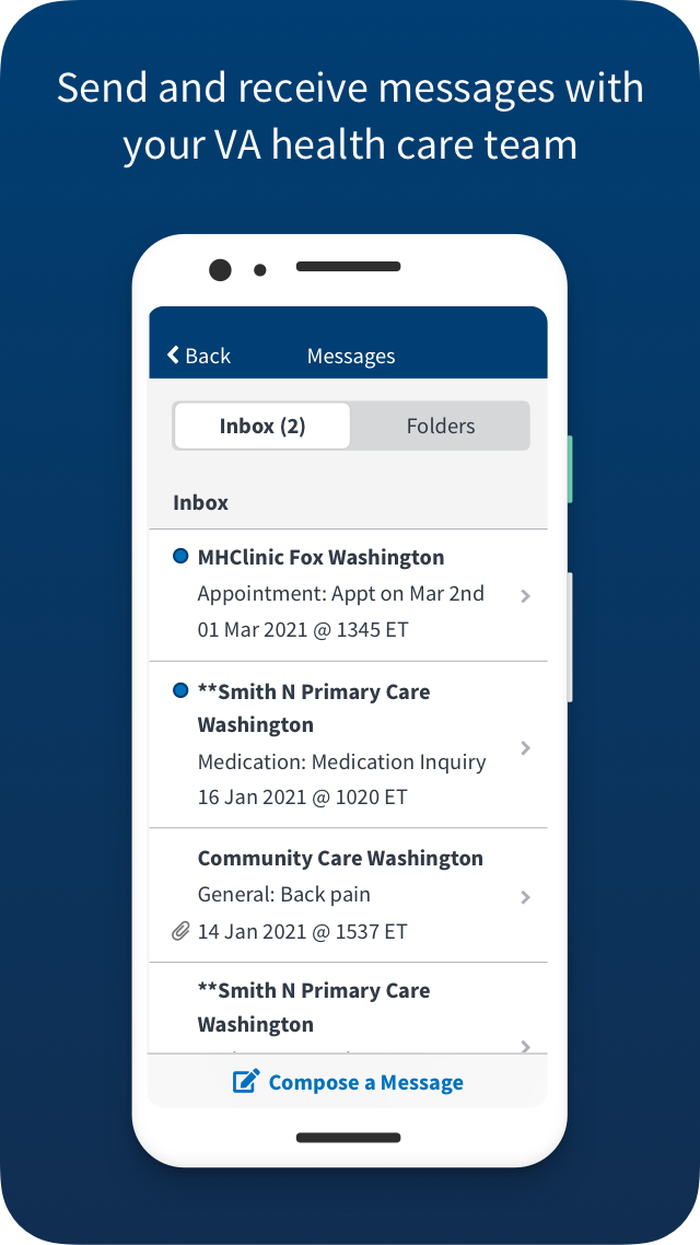 VA: Health and Benefits send and receive messages with your VA health care team Screen