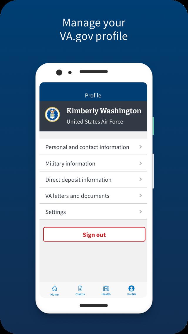 VA: Health and Benefits manage your VA.gov profile Screen