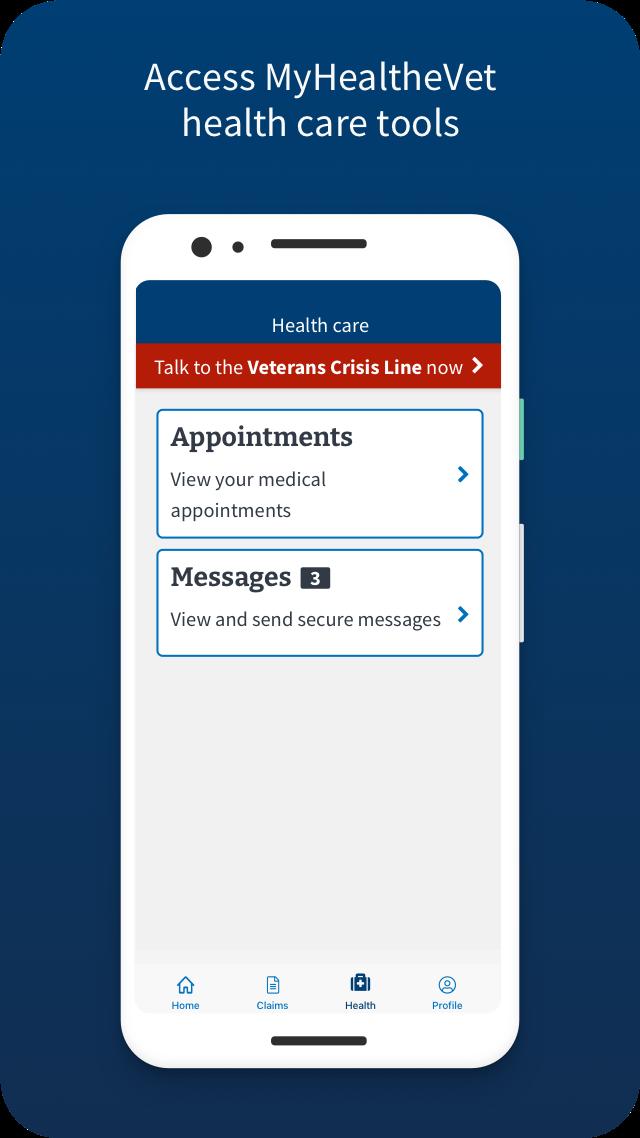 VA: Health and Benefits access MyHealtheVet health care tools Screen