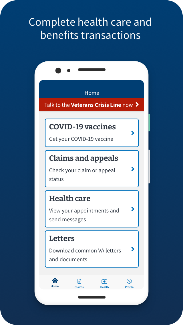 VA: Health and Benefits complete health care an benefits transactions Screen