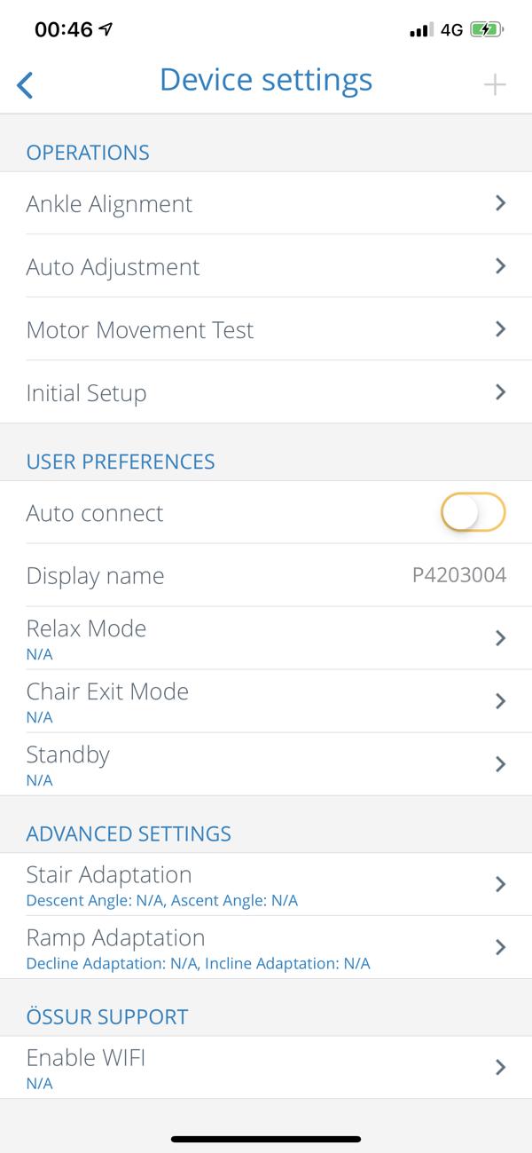 Össur Logic Device Settings Screen