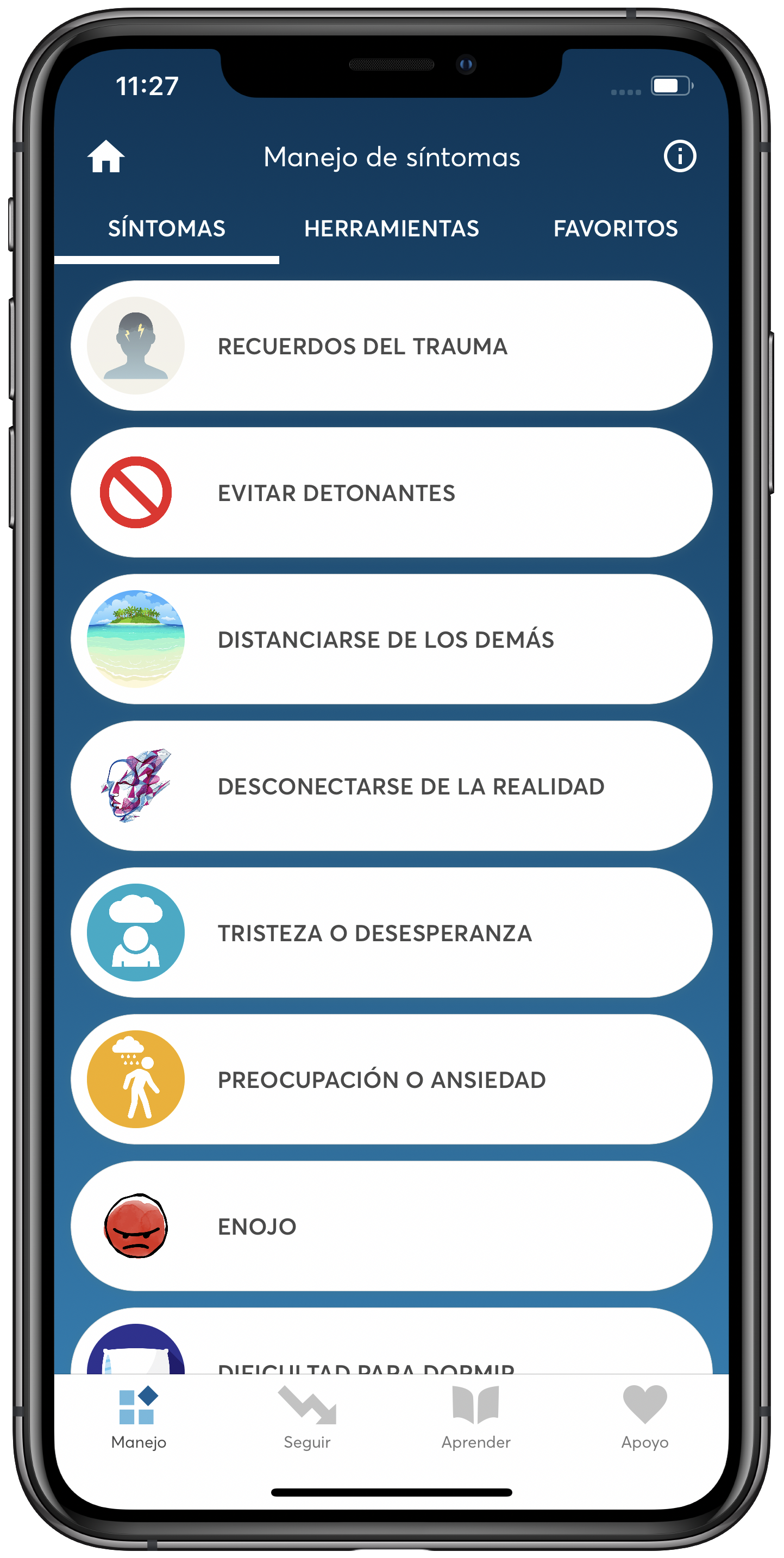 PTSD Coach App Manage Symptoms - Spanish Screen