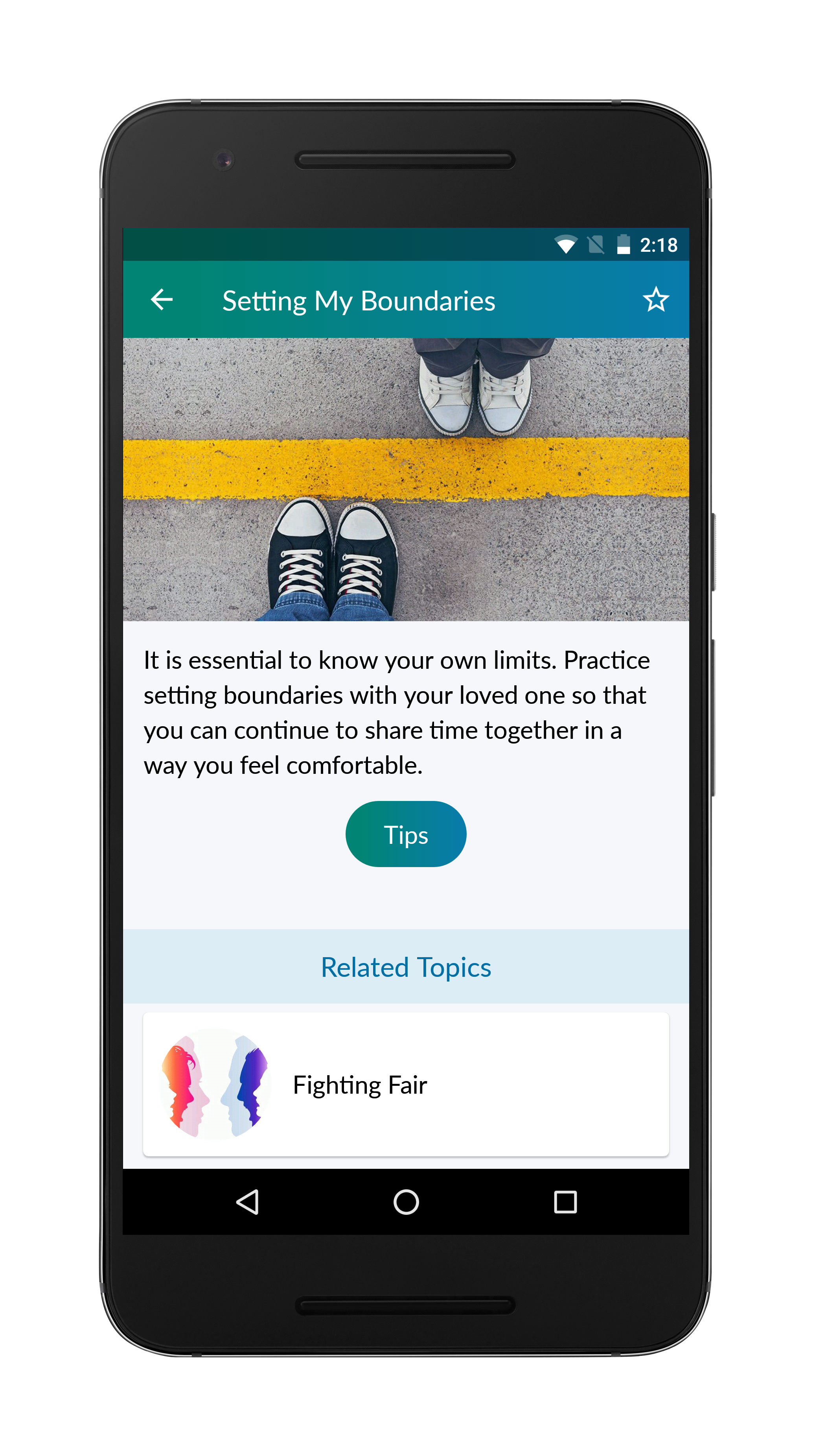 PTSD Family Coach App Setting Boundaries Screen