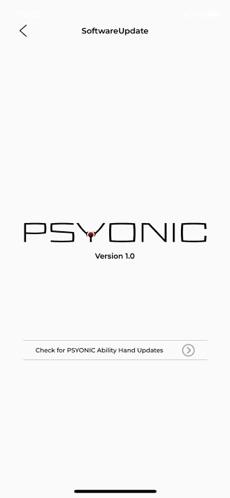 PSYONIC ABILTY Hand software Updates Screen