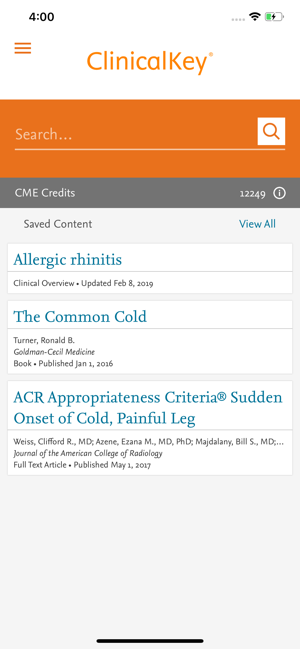 ClinicalKey Home Screen