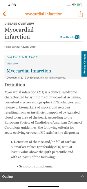 ClinicalKey Myocardial Infarction Screen