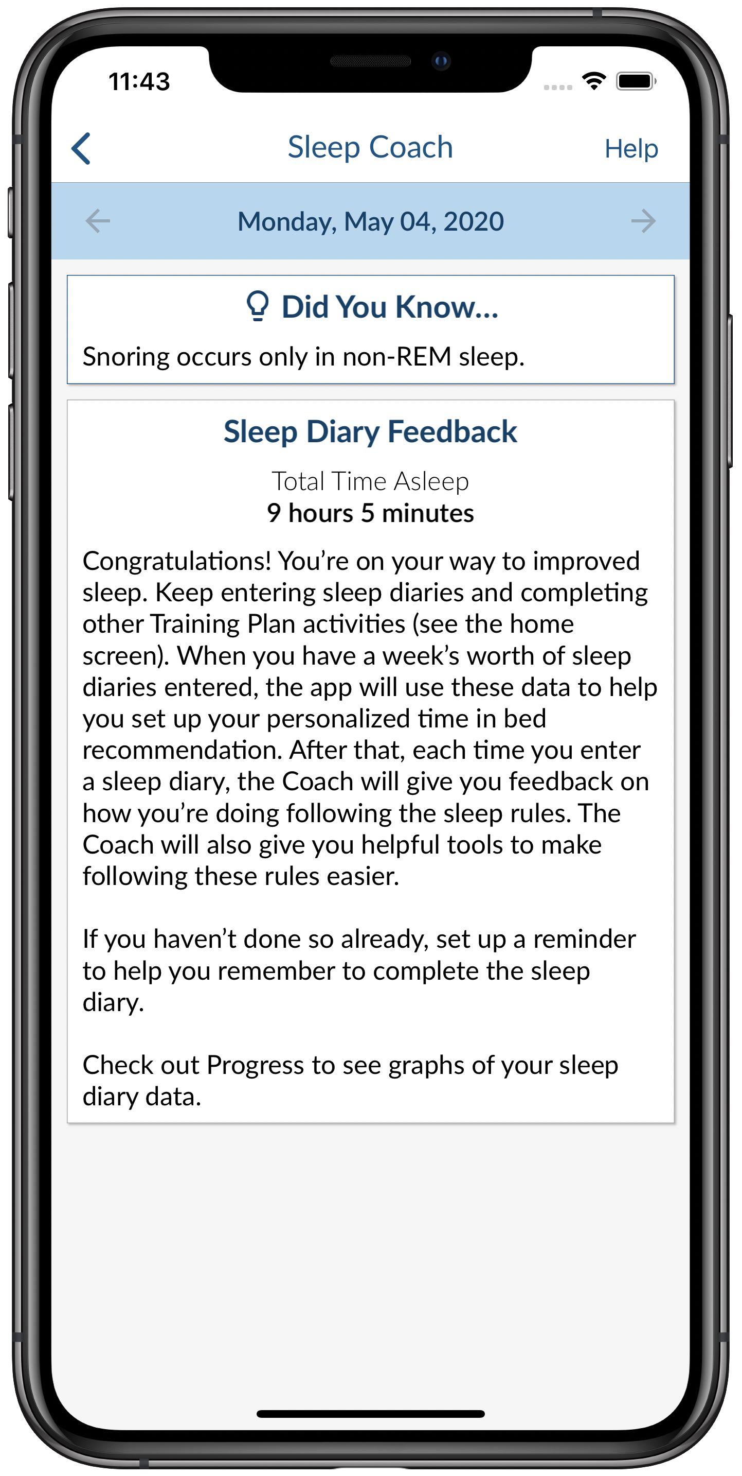 Sleep Coach Screen