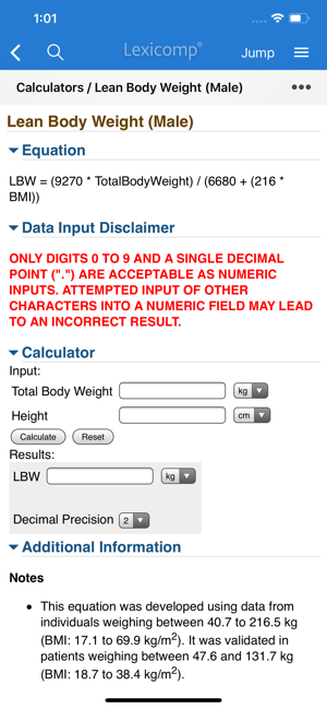 Lexicomp Drug Calculations/Lean Body Weight Screen
