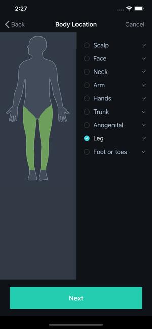VisualDx Body Location Screen